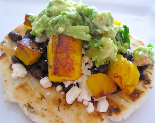 Arepa w plantain and black beans
