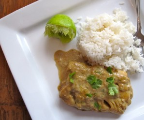 Bacalao con Salsa de Coco y Choclo (Cod Fish with Coconut-Corn Sauce)