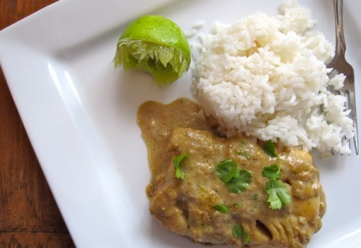 "<span class=""p-name"">Bacalao con Salsa de Coco y Choclo (Cod Fish with Coconut-Corn Sauce)</span>"