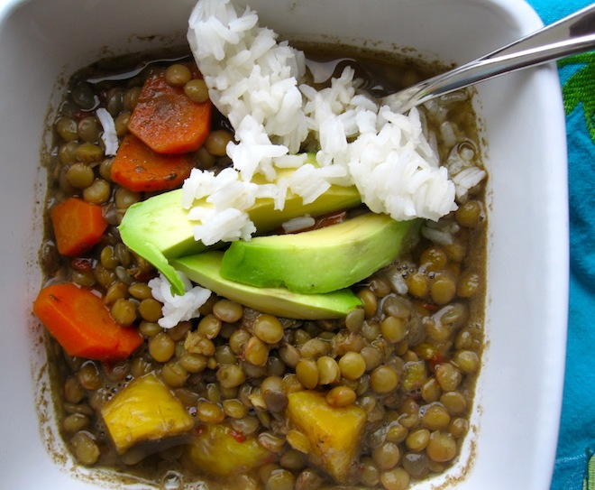 Lentil and Ripe plantain Stew