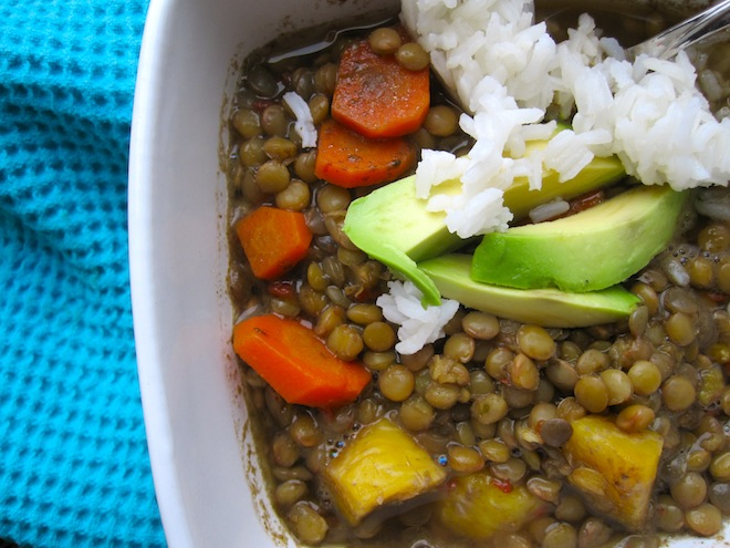 lentils with plantains and carrots