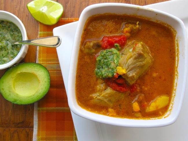 Pork, Potatoes and Hominy soup