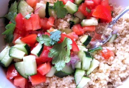 "<span class=""p-name"">Quinoa salad with Avocado, Tomato and Cucumber</span>"