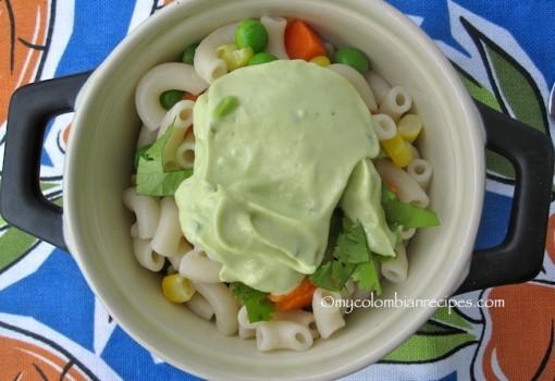 """<span class=""""p-name"""">Macaroni Salad with Avocado Dressing (Ensalada de Coditos con Aderezo de Aguacate)</span>"""