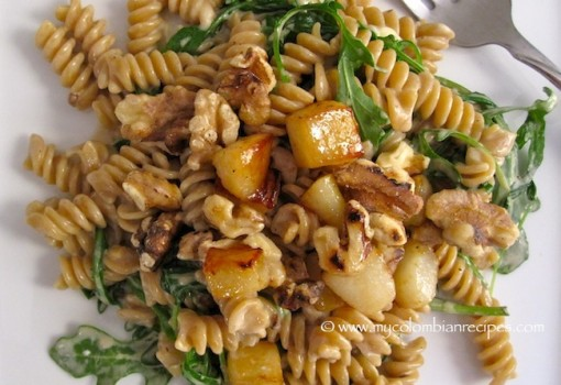 "<span class=""p-name"">Whole Wheat Pasta with Pears, Walnuts and Gorgonzola Cheese</span>"