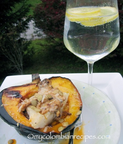 Spicy Cod Fillet with Coconut-Squash Sauce Over Roasted Acorn Squash