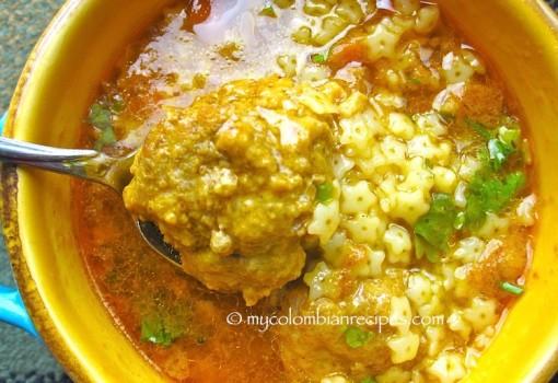 """<span class=""""p-name"""">Sopa de Estrellitas con Albóndigas (Pasta and Meatballs Soup)</span>"""