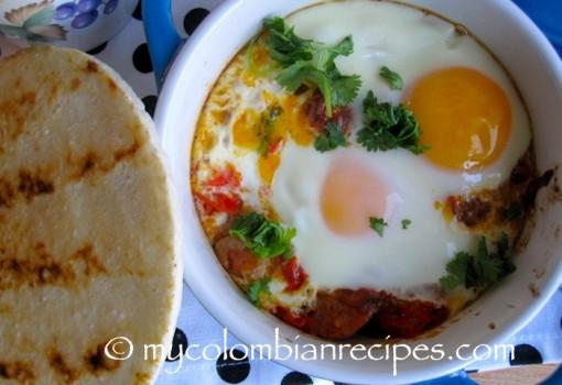 """<span class=""""p-name"""">Cazuela de Huevos con Chorizo (Baked Eggs with Chorizo)</span>"""