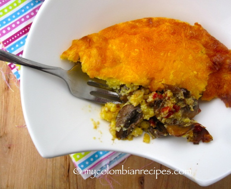 Pastel de Chocolo con Champiñones (Mushrooms and Corn Casserole)
