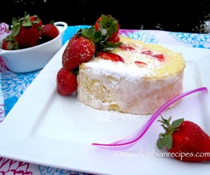 Brazo de Reina (Strawberries and Cream Cake Roll) |mycolombianrecipes.com