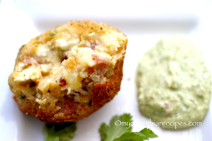 Chorizo, Cheese and Potato Croquettes with Avocado Aioli