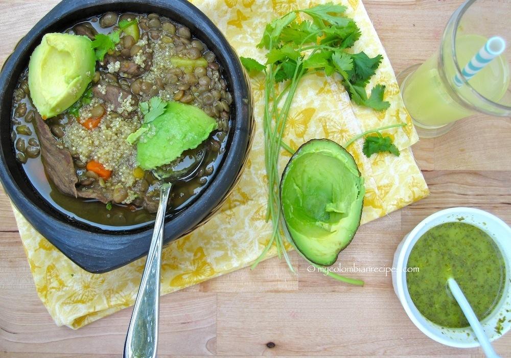Sopa de Lentejas con Carne y Quinua (Lentils, Beef and Quinoa Soup)