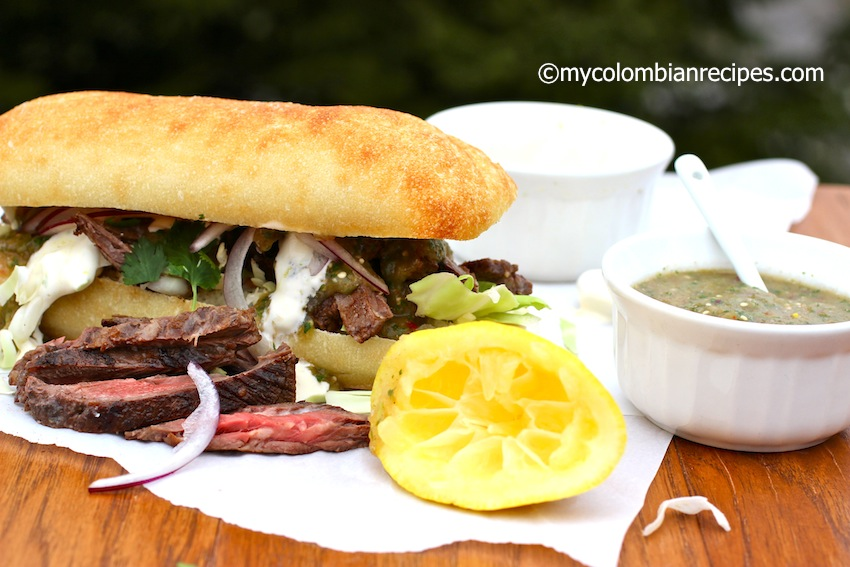 Beef with Lemon Aioli and Tomatillo Sauce Sandwich