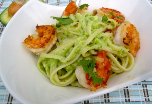 "<span class=""p-name"">Pasta with Avocado Sauce and Garlic Shrimp</span>"