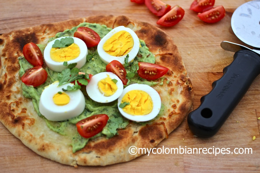 Avocado and Egg Flat Bread Pizza