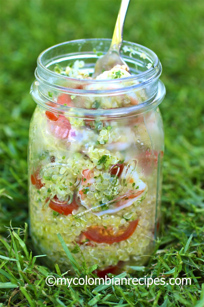 Quinoa shrimp and chimichurri salad my colombian recipes for Picnic food ideas for large groups