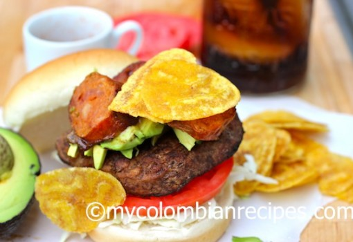 "<span class=""p-name"">Burger with Chorizo, Avocado and Plantain Chips</span>"