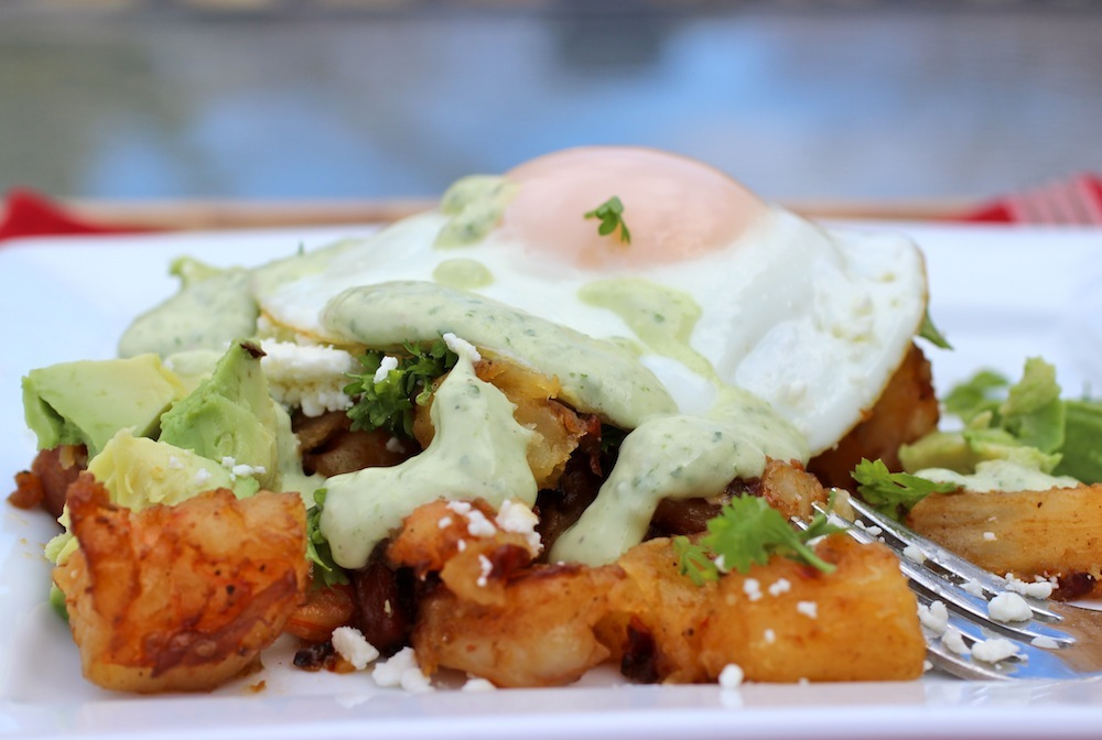 Shrimp, Chorizo and Yuca Hash