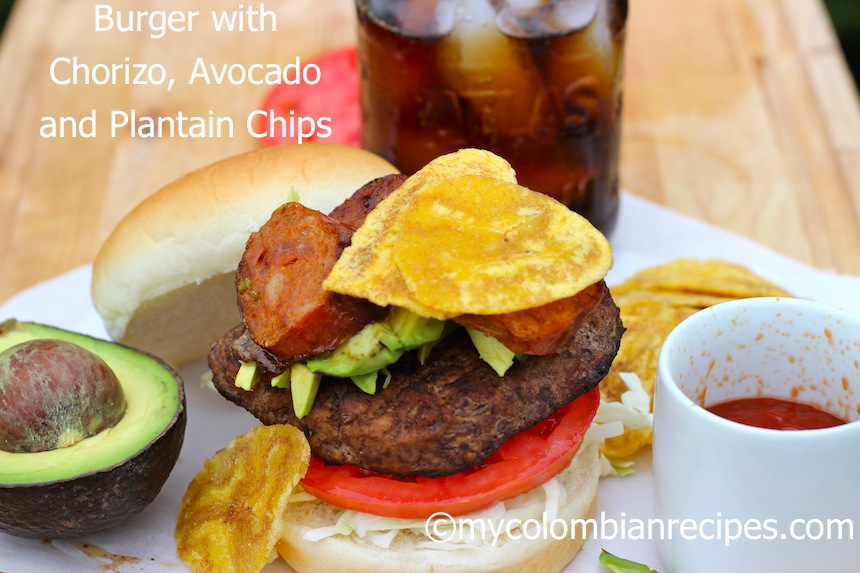 Burger with Chorizo, Avocado and Plantain Chips