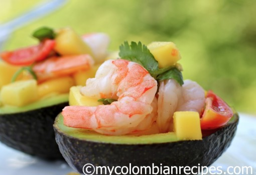 "<span class=""p-name"">Stuffed Avocado with Shrimp and Mango Salad</span>"