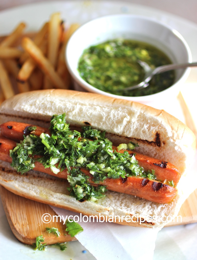 Hot Dog with Chimichurri Sauce