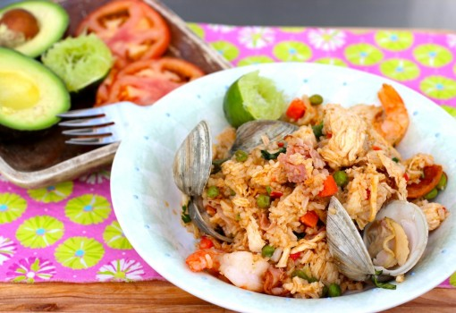 """<span class=""""p-name"""">Arroz Mixto Colombiano (Colombian-Style Seafood, Chicken and Pork Rice)</span>"""