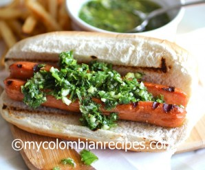 Hot Dog with Chimichurri Sauce