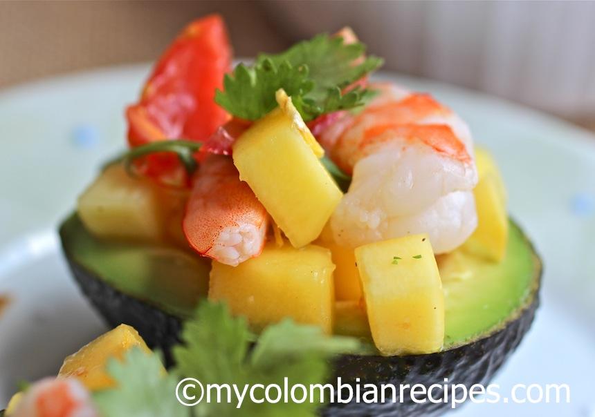 Stuffed Avocado with Shrimp and Mango Salad