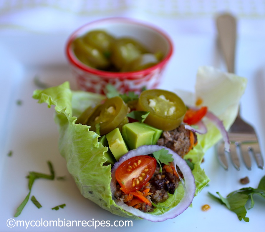 Beef Lettuce Wraps with Pickled Jalapeños