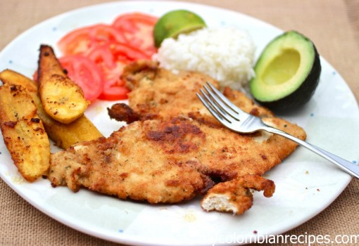 "<span class=""p-name"">Chuleta de Pollo (Colombian-Style Breaded Chicken Breast)</span>"