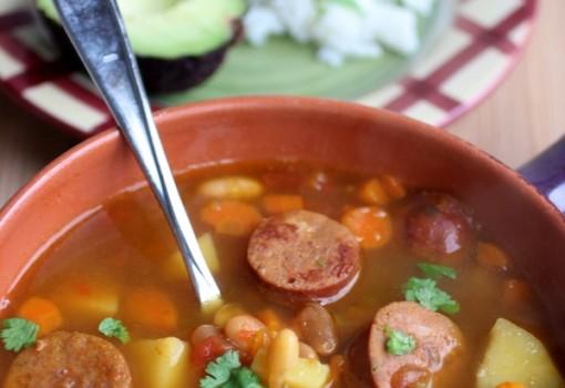 """<span class=""""p-name"""">Sopa de Frijoles Canarios con Chorizo (Canary Bean Soup with Chorizo)</span>"""