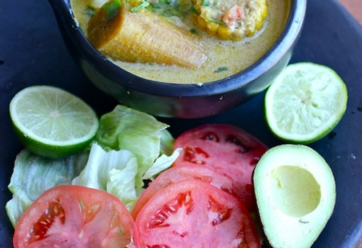 "<span class=""p-name"">Sancocho de Pescado con Coco (Fish and Coconut Soup)</span>"