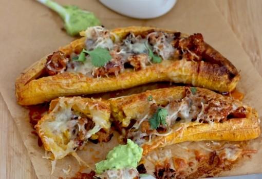 Ripe Plantains Stuffed with Chorizo and Cheese