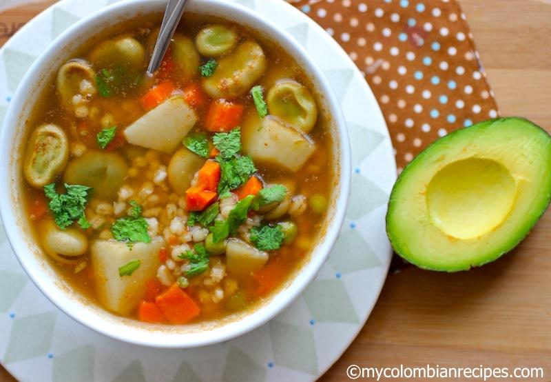 Sopa de Habas y Cebada (Barley and Fava Bean Soup)
