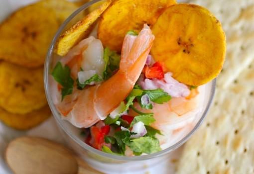 """<span class=""""p-name"""">Ceviche de Camarón con Coco (Coconut Shrimp Ceviche)</span>"""