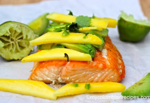 "<span class=""p-name"">Baked Salmon with Mango and Avocado</span>"