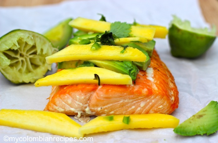 Baked Salmon with Mango and Avocado