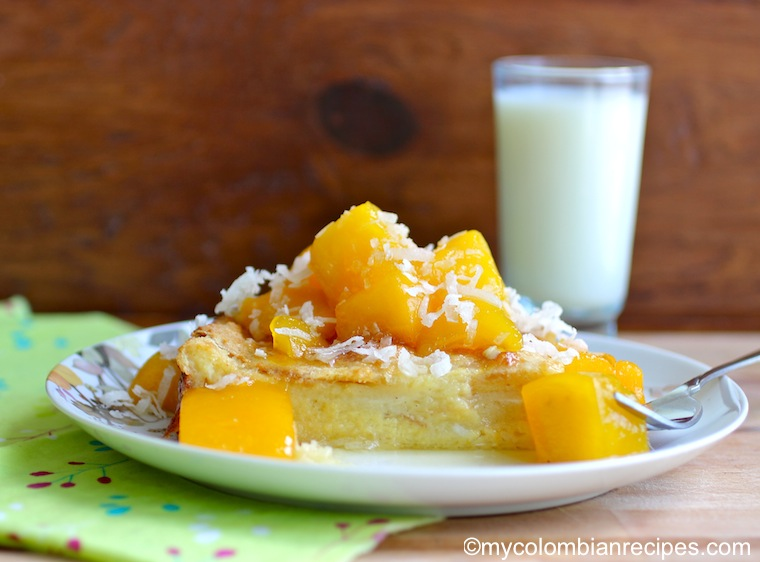 Coconut Bread Pudding with Mango Sauce