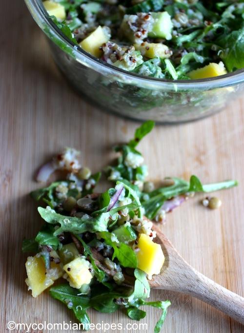 Lentil, Arugula, Mango and Quinoa Salad