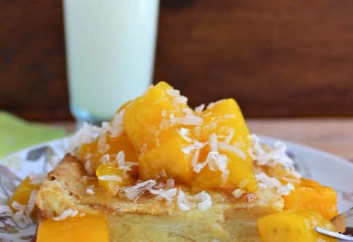 "<span class=""p-name"">Coconut Bread Pudding with Mango Sauce</span>"