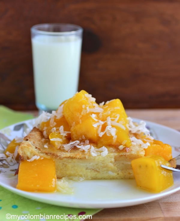 Coconut Bread Pudding with Mango Sauce | My Colombian Recipes