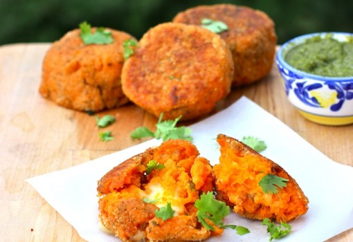 Sweetpotato, Chorizo and Cheese Cakes with Cilantro Sauce