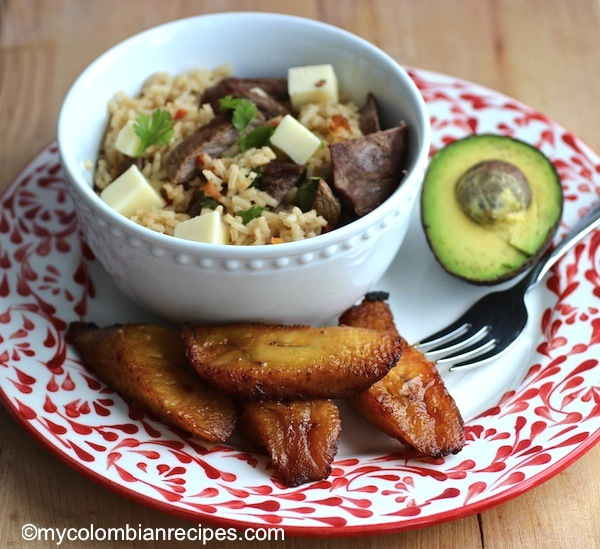 Arroz Atollado con Carne Ahumada (Rice with Smoked Beef)