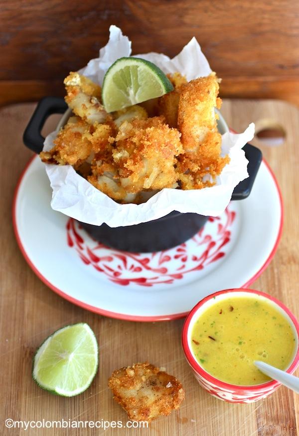 Chicharrón de Pescado con Ají de Mango (Fish Fritters with Mango Sauce) | My Colombian Recipes