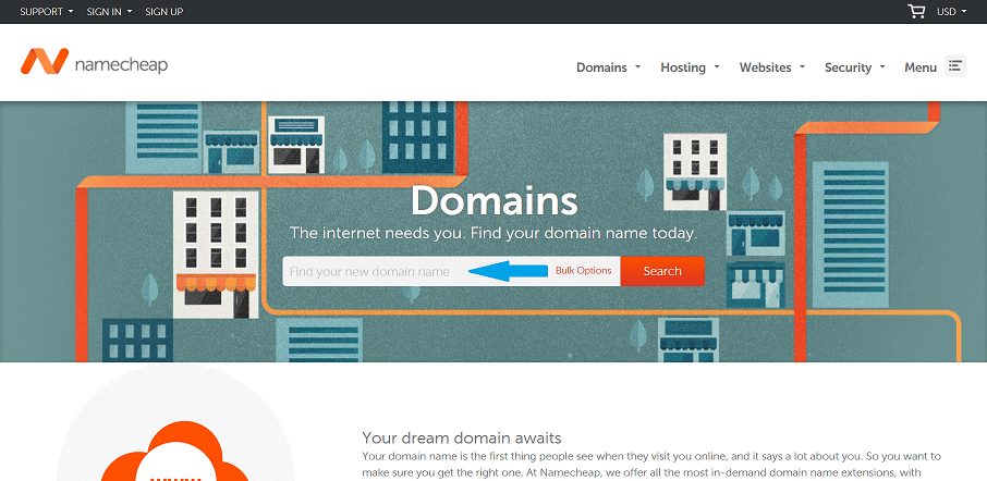 Buy a domain with Namecheap