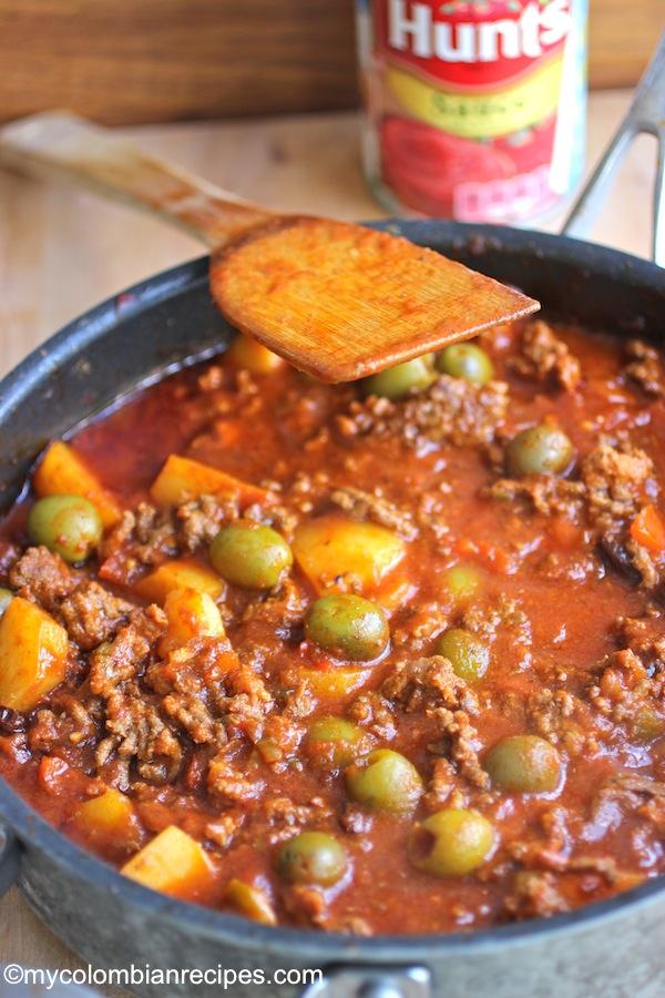 Picadillo con carne y Chorizo