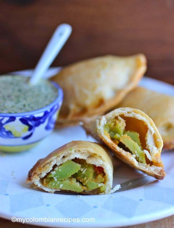 Avocado Empanadas with Cilantro Sauce  mycolombianrecipes.com