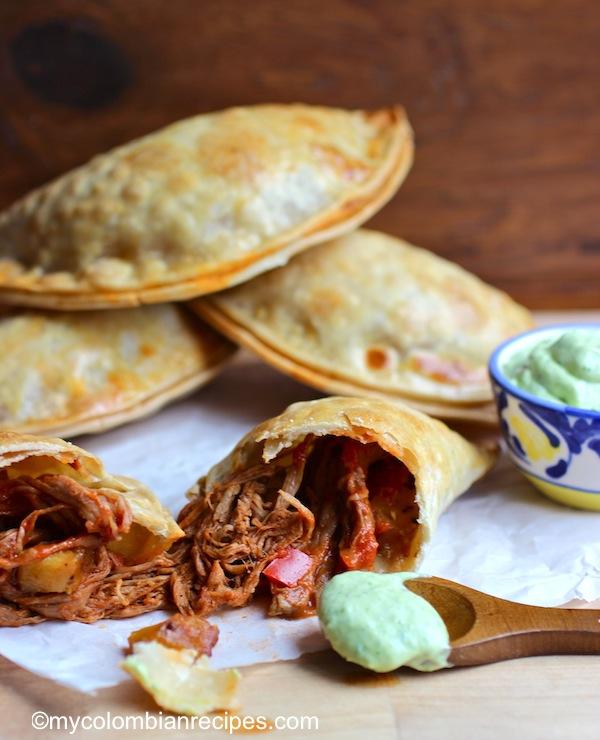 Ropa Vieja and Ripe Plantain Empanadas with Avocado Sauce