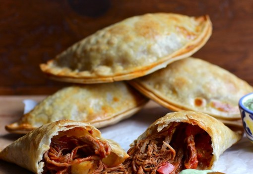 "<span class=""p-name"">Ropa Vieja and Ripe Plantain Empanadas with Avocado Sauce</span>"