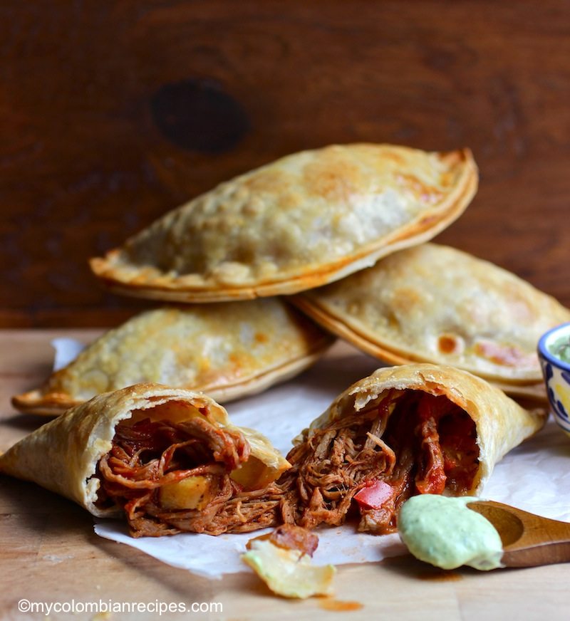 Ropa Vieja and Ripe Plantain Empanadas with Avocado Sauce